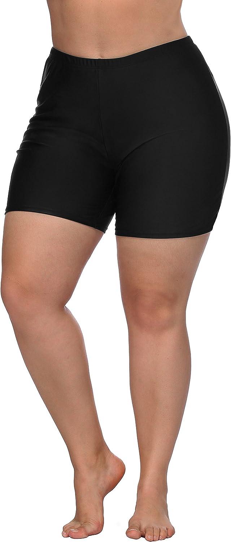 ATTRACO Plus Size Swimwear Bottoms for Women High Waist Swim Board Shorts Black 0X