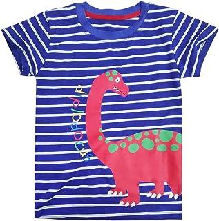 Tarkis Children's T-Shirt Cotton Stripes Fire Cartoon Car Pattern Boys Girls Short Sleeve Top Jumper Size