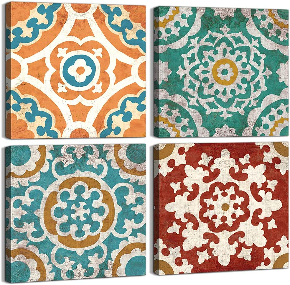 Rustic Sales for sale Flower Pattern Wall Art Bedroom Framed Vintage Max 69% OFF Abstra
