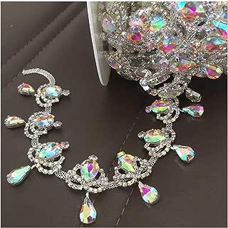 1 Yard Crystal AB Fringe Rhinestone Chain Bridal Applique Trim Silver