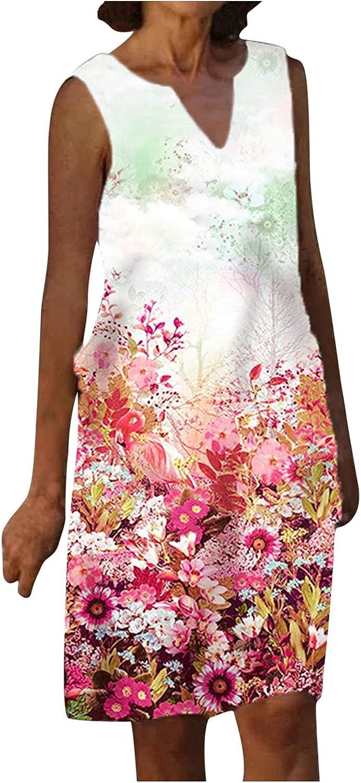 NEEKEY Floral Print Dresses for Womens, Summer Casual Sleeveless V Neck Sundresses Loose Midi Dress Swing Tank Dresses