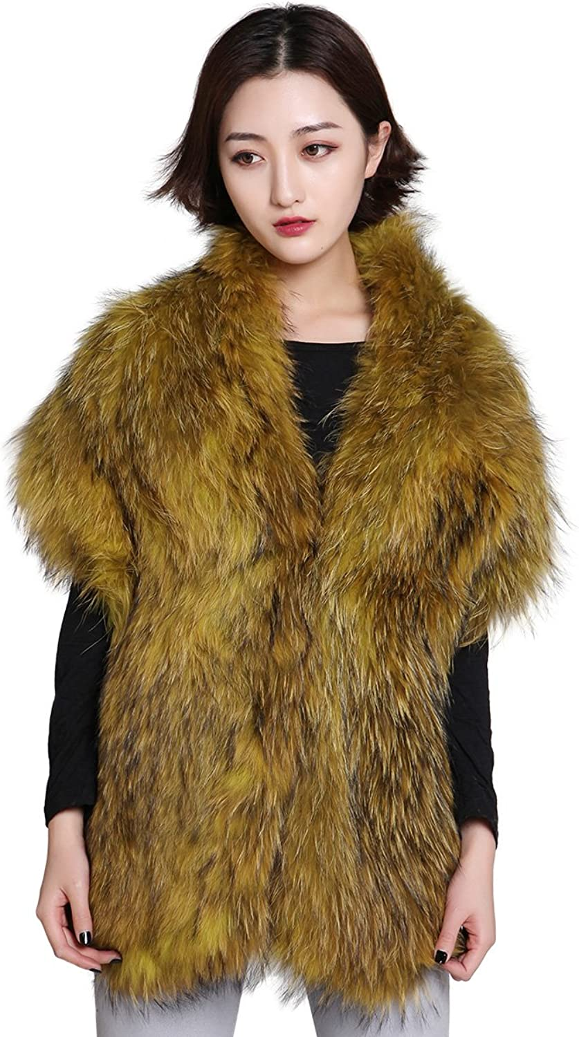 FEISSI Knitted Raccoon Fur Stole Shawl Wrap
