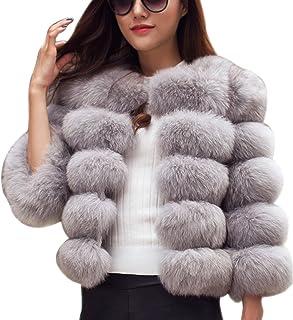 LaoZan Damski płaszcz zimowy, krótki ciepły płaszcz ze sztucznego futra, kurtka wierzchnia