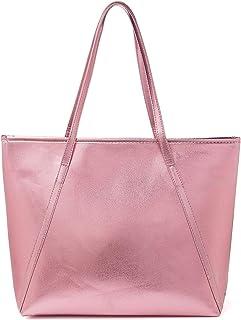 OURBAG PU Leder Handtasche Damen Gross, OURBAG Schultertasche Damen Handtasche Silber rosa metallic Shopper Rosa