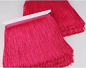 Heartwish268 Fringe Trim Lace Polyerter Fibre Tassel 8inch(″) Wide 10 Yards Long for Clothes Accessories and Latin Wedding Dress and DIY Lamp Shade Decoration Rose Pink