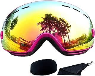 Rongbenyuan Ski Snow Snowboard Goggles - OTG Goggles Men Women Kids Anti-Fog UV400 Protection