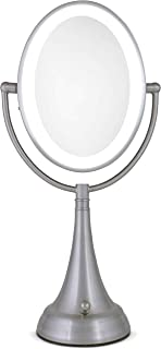 Zadro LEDOVLV410 - LED Lighted 10X/1X Oval Vanity Mirror with Satin Nickel Finish
