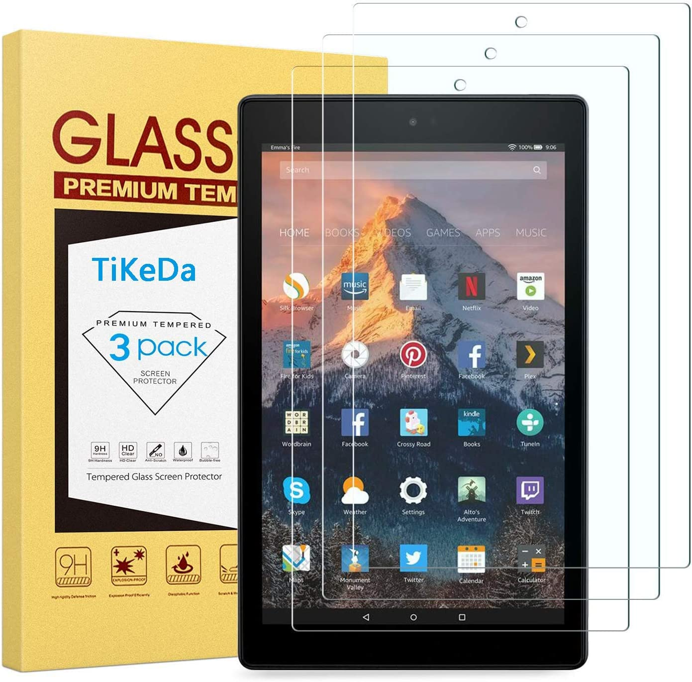 [3-Pack] Screen Protector Prime Deals for Fire HD 8 (2018/2017/2016 Release) Hard Tempered Glass/HD/9H Hardness High Definition Clear-Not Fit Fire HD 8 2020