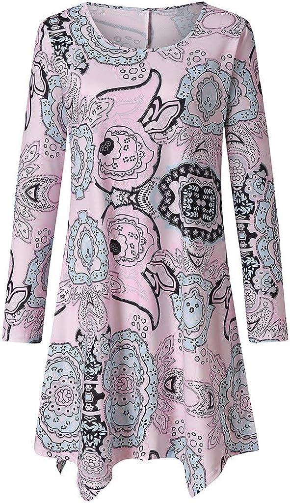 YESIMOLA Autumn Dress for Women Irregular Cut Hem Midi Dress Plu