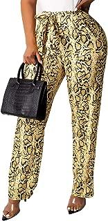 LightlyKiss Snakeskin Print Leggings for Women High Waisted Long Pants with Pockets