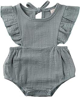 الرضع طفلة الصلبة كشكش رومبير القطن جودة عالية ارتداءها الزي بذلة الوليد 0-12 متر (Color : Blue, Kid Size : 12M)