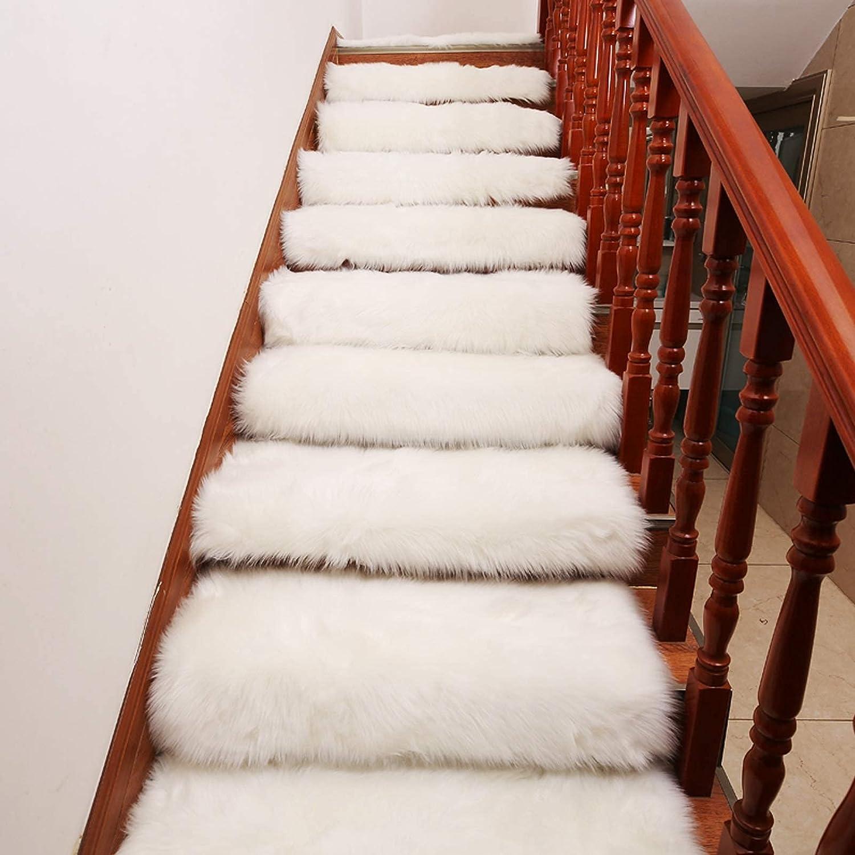 HAOJON Alfombrillas para escaleras, Juego de 10 Antideslizantes, Autoadhesivas, Ultra Felpa, Suaves, aptas para Mascotas, Antideslizantes, sin Cinta, Lavables, Reutilizables (Color: Blanco, tamaño: