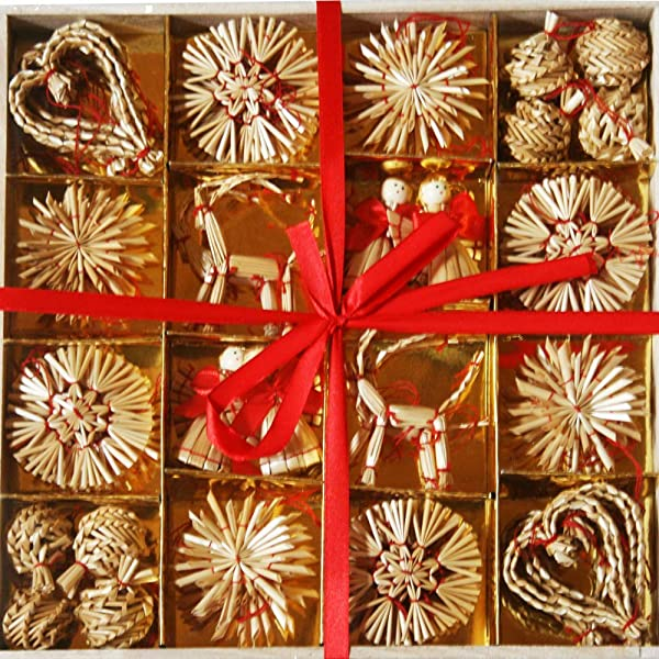 Straw Ornaments Box Of 56 Assorted
