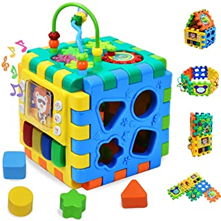 Baby Activity Cube Toddler Toys - 6 in 1 Shape Sorter...
