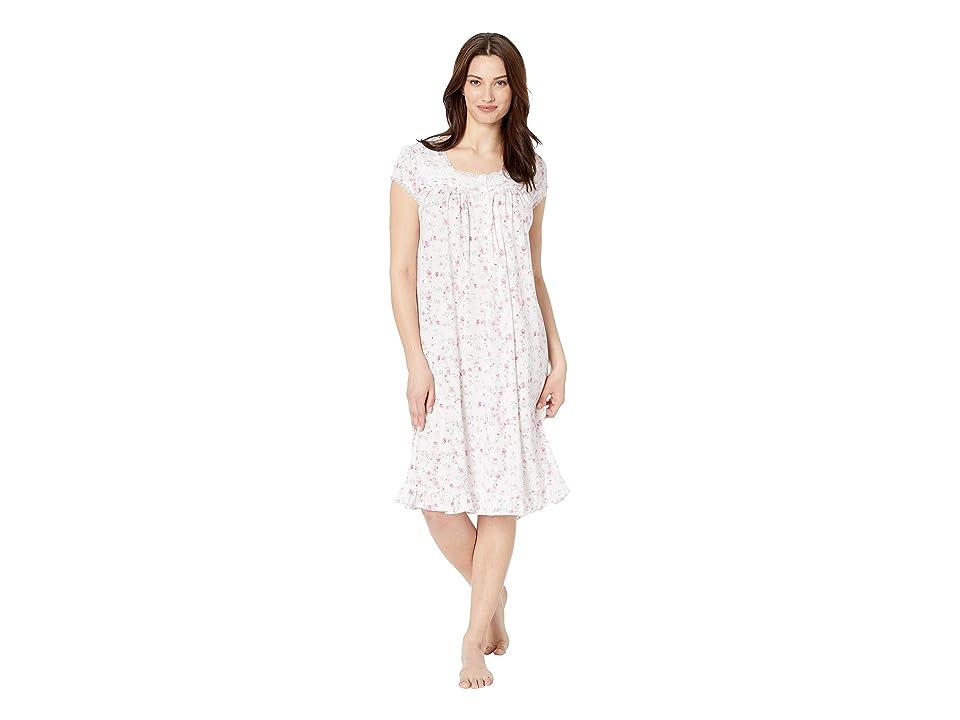Eileen West Cotton Modal Jersey Short Nightgown (White Ground Viney Floral) Women