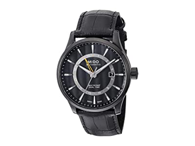 Mido Multifort Gmt with Black PVD Case and Black Leather Strap M0384293605100 (Black) Watches
