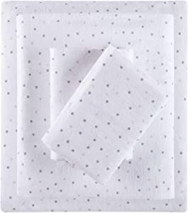 Intelligent Design Cozy 100% Cotton Flannel Novelty Print Animals Stars Cute Warm Ultra Soft Cold Weather Sheet Set Bedding, Queen, Grey/Pink Dots