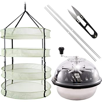 iPower GLTRIMBOWL16MDRYRD2L4 16-Inch Leaf Bowl Trimmer Twisted Spin Cut for Plant Bud and 2 Feet Diameter with 4 Layers Clip on Hanging Herb Drying Rack Net, Bowl & Dryer Kit