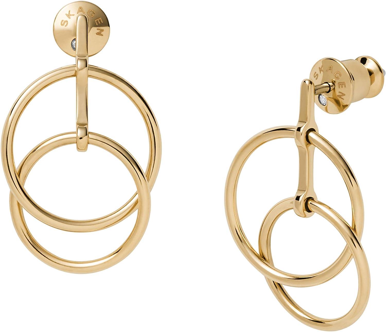 Skagen Women's Elin Gold-Tone Stainless Steel Drop Earrings (Model: SKJ1380710)