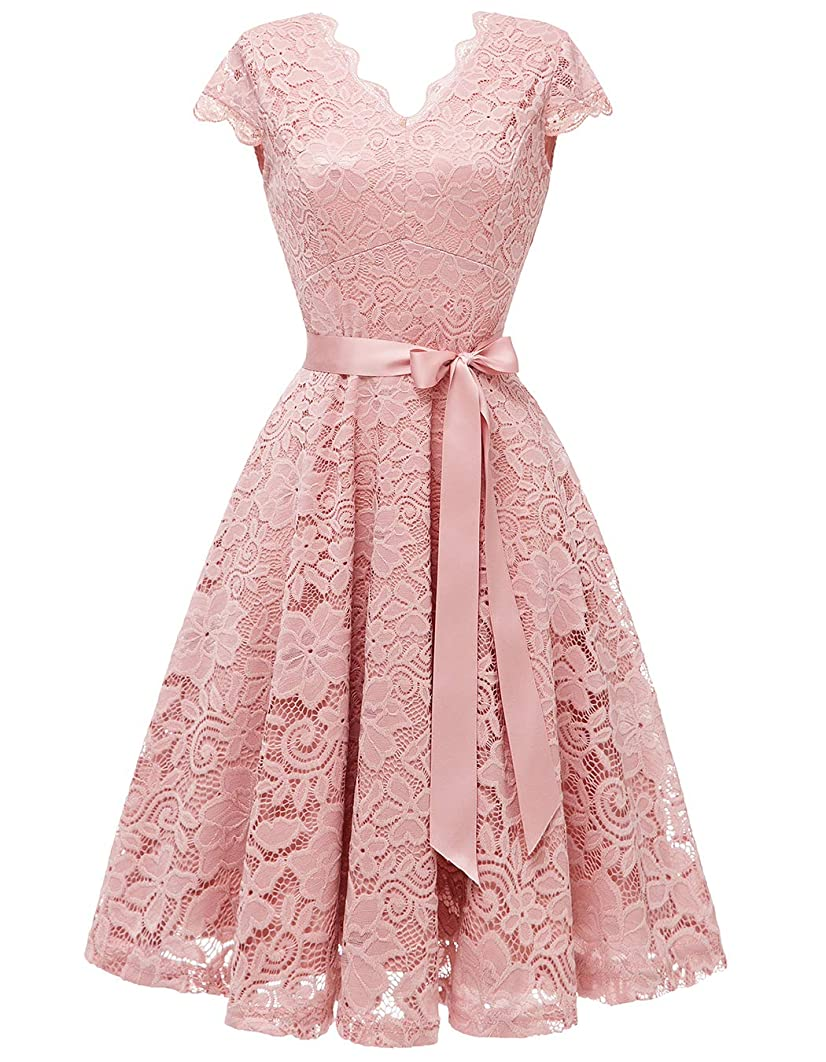 Vinvv Women's Lace Vintage Dress Bridesmaid Party Swing Homecoming Dress Women1950s Retro Cocktail Dress