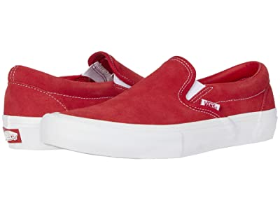 Vans Slip-On Pro ((Suede) Red/White) Skate Shoes
