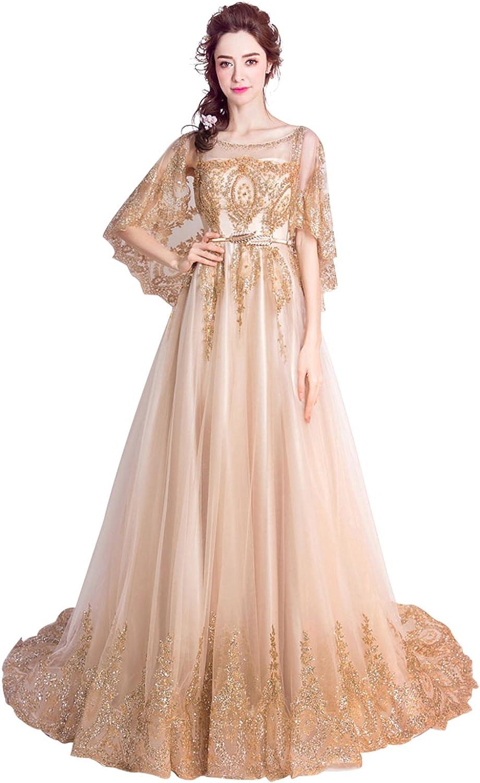 Epinkbridal Women's Vintage Lace Appliques Evening Party Wedding Long Dress