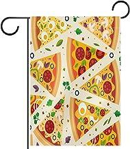 Huis Tuin Vlag DubbelzijdigLente Zomer Yard Outdoor Decoratie 12x18 inch, pizza stukken heerlijke food art