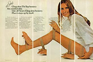 Sears Cling-alon Thi-Top hosiery fit comfortably ad 1971 Maud Adams