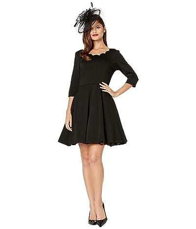 Unique Vintage Smak Parlour for Unique Vintage 3/4 Sleeved Charmed Fit-and-Flare Dress (Black) Women