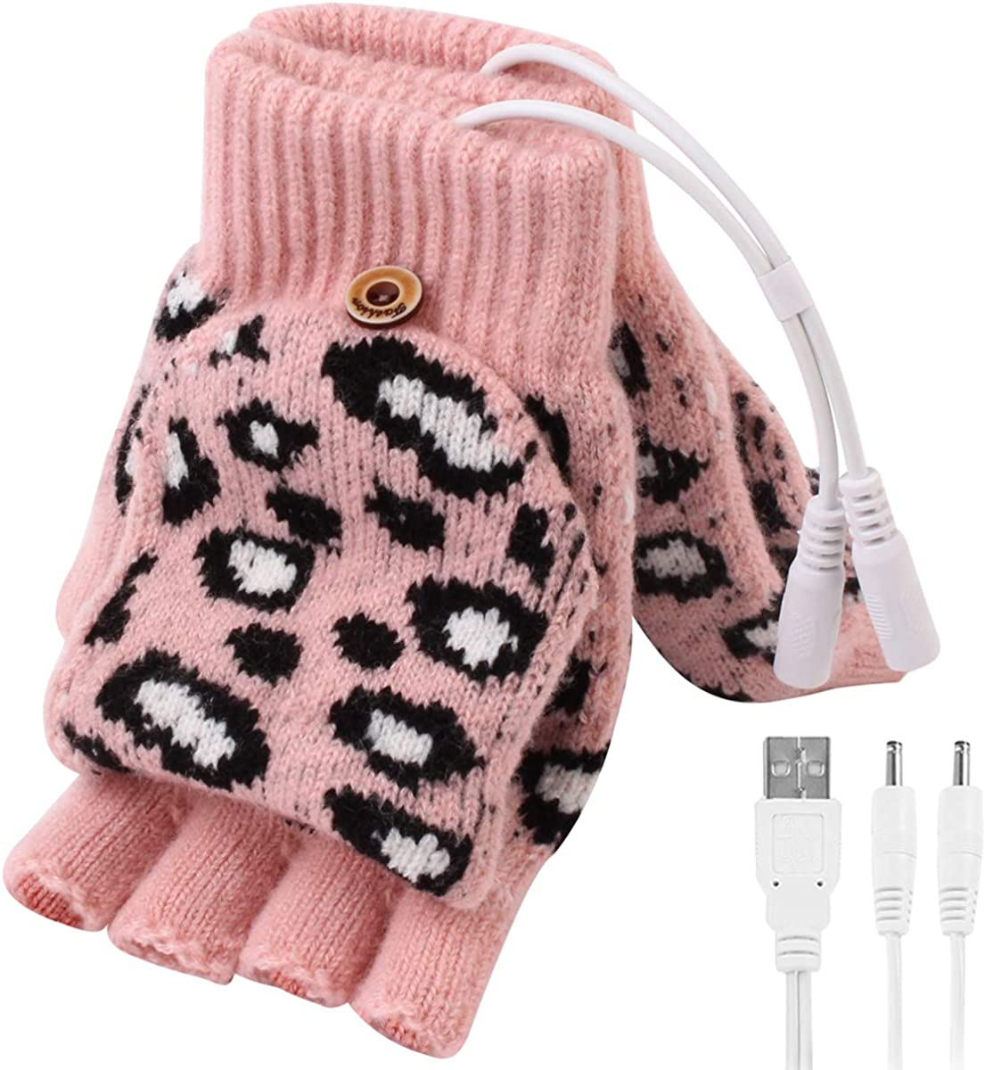 DaMohony Women USB Heated Gloves, Winter Half Finger Heated Gloves with 3 Temperature Level for Typing Hiking Cycling