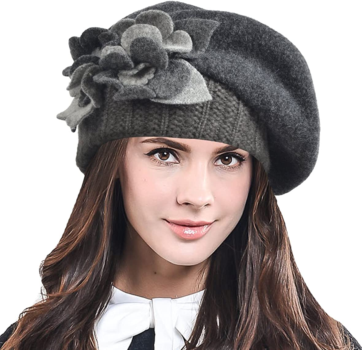 Lady French Beret 100% Wool Beret Chic Beanie Winter Hat HY023