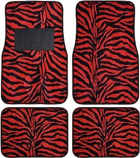 BDK Safari Zebra Colorful 4-Piece Universal Carpet Floor Mat Set Red
