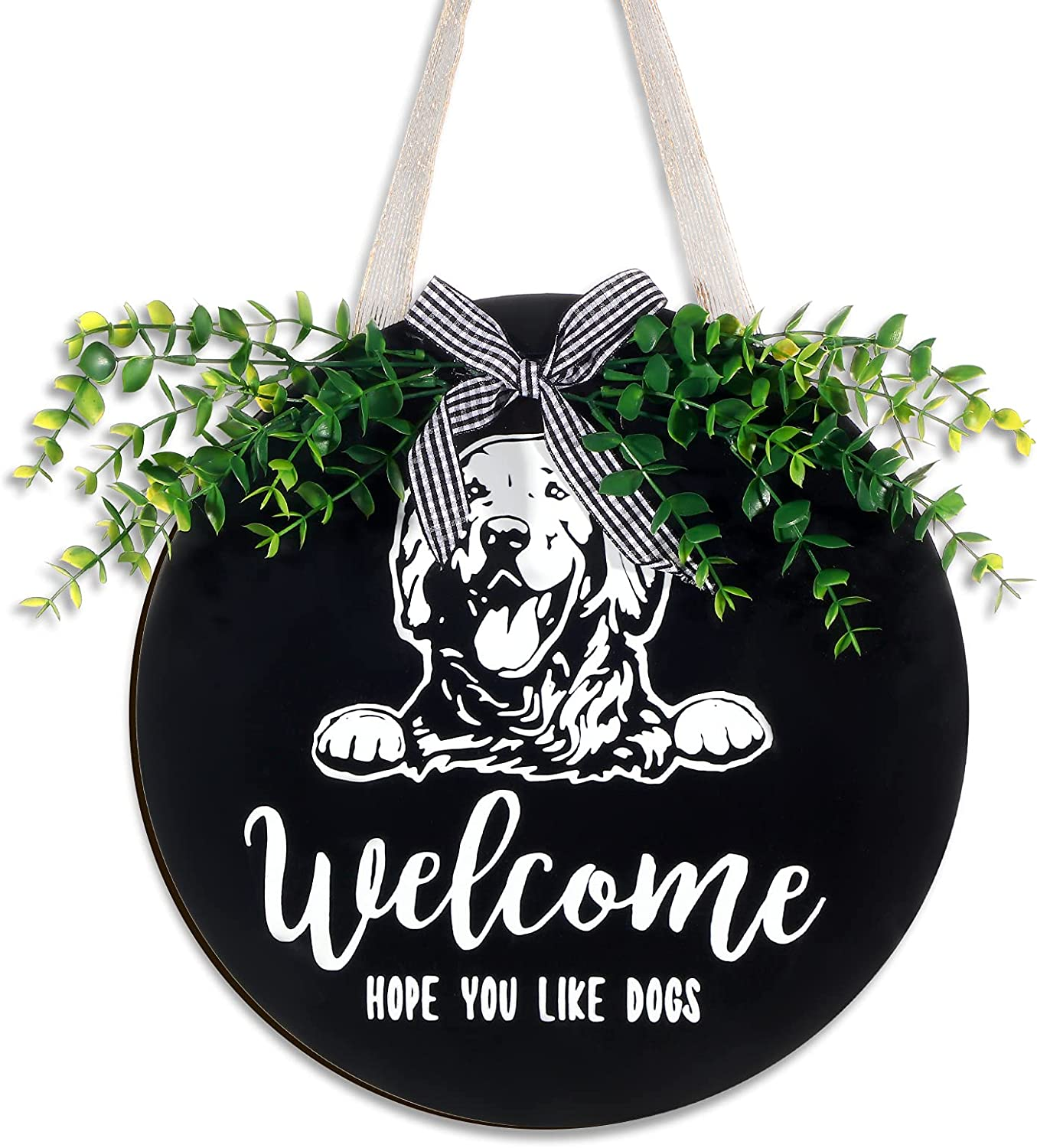 Welcome Sign Front Door Decor Round Wood Hanging Sign Golden Retriever, Hope You Like Dog Hair Sign Farmhouse Porch Decoration for Home Outdoor Indoor, Black Golden Retriever Welcome Sign
