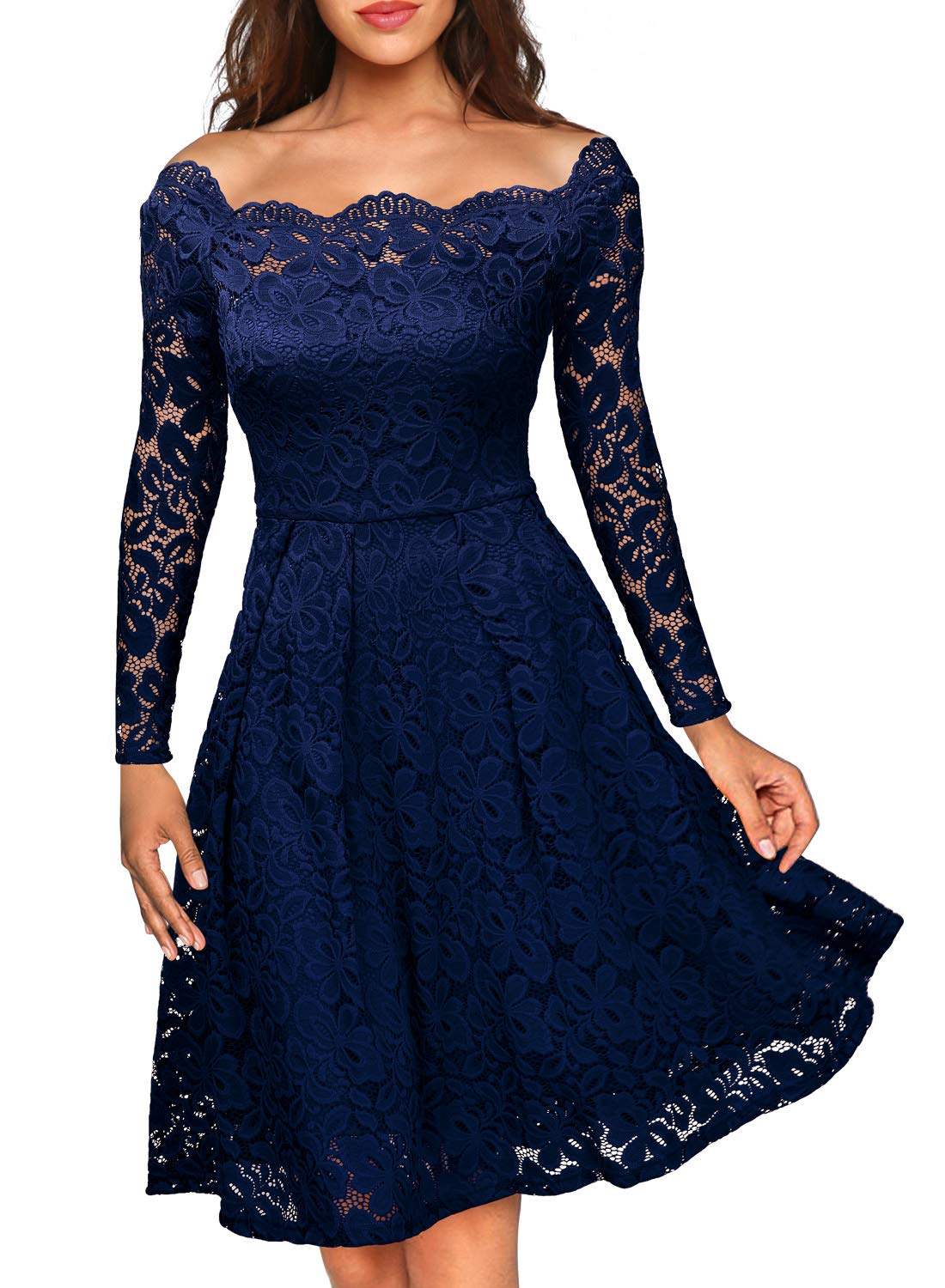 Party Dresses - Women's Vintage Floral Lace Long Sleeve Boat Neck Cocktail Party Swing Dress