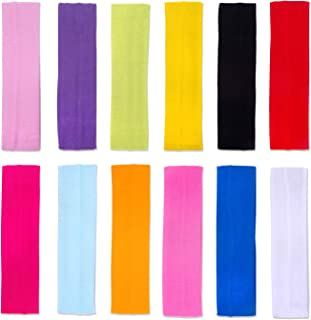 DERAYEE 12 Pcs Sport Headband for Women, Yoga Exercise Workout Athletic Running Elastic Hair Band