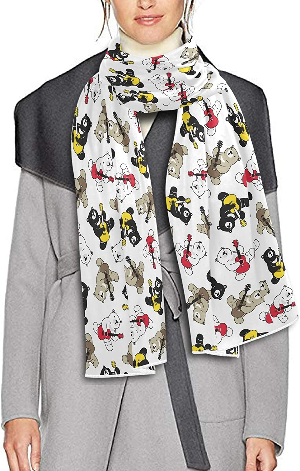 Scarf for Women and Men Polar Bear Guitar Blanket Shawl Scarf wraps Soft Thick Winter Large Scarves Lightweight