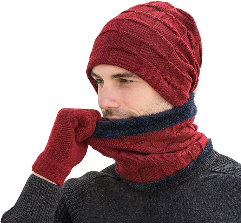 Beanie Hat Scarf Gloves 3 Pcs Set Knit Skull Cap Men Winter Neck Warmer