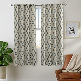 Moroccan Tile Print Linen Textured Panels for Bedroom Room Grommet Flax Linen Look Curtain Window Treatment Set for Living Room 72 inch Blue