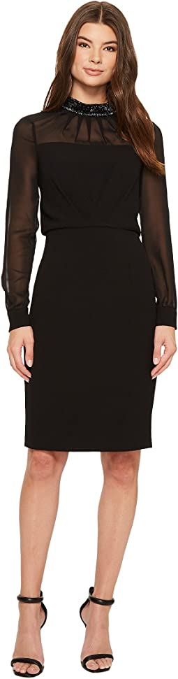 Adrianna Papell - Textured Crepe Sheath Dress