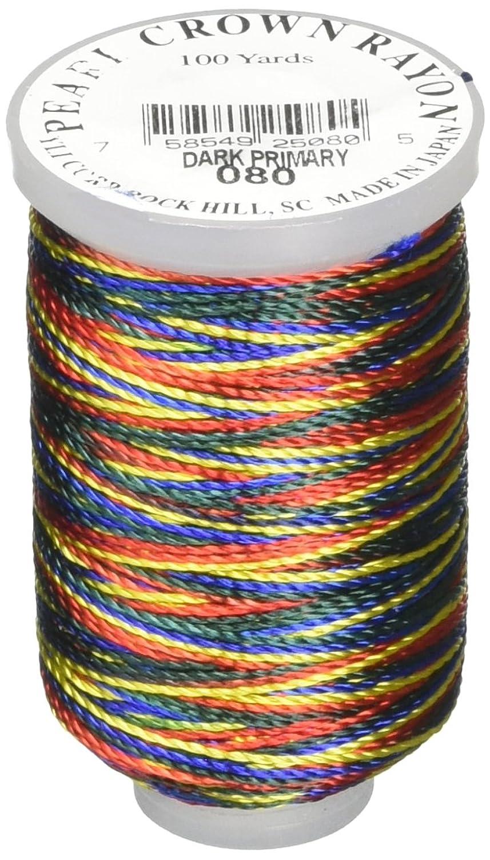 YLI 25004-80 T-135 Pearl Crown Rayon Variegated Thread Cord, 100 yd, Dark Primary