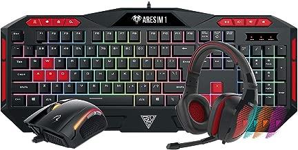 GAMDIAS Poseidon M1 Gaming Combo, Ares M1 Membrane Keyboard with Zeus E2 Optical Mouse and Eros E1 Headset (Poseidon M1)