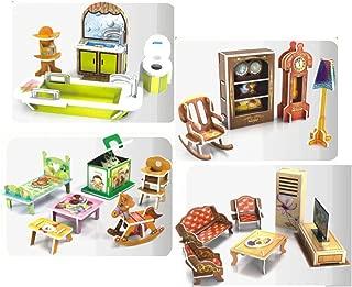 Top Race DIY, Doll House Decor, Living Room, Bath Room, Kids Room, Reading Room, Doll House Furniture (91 Pieces)