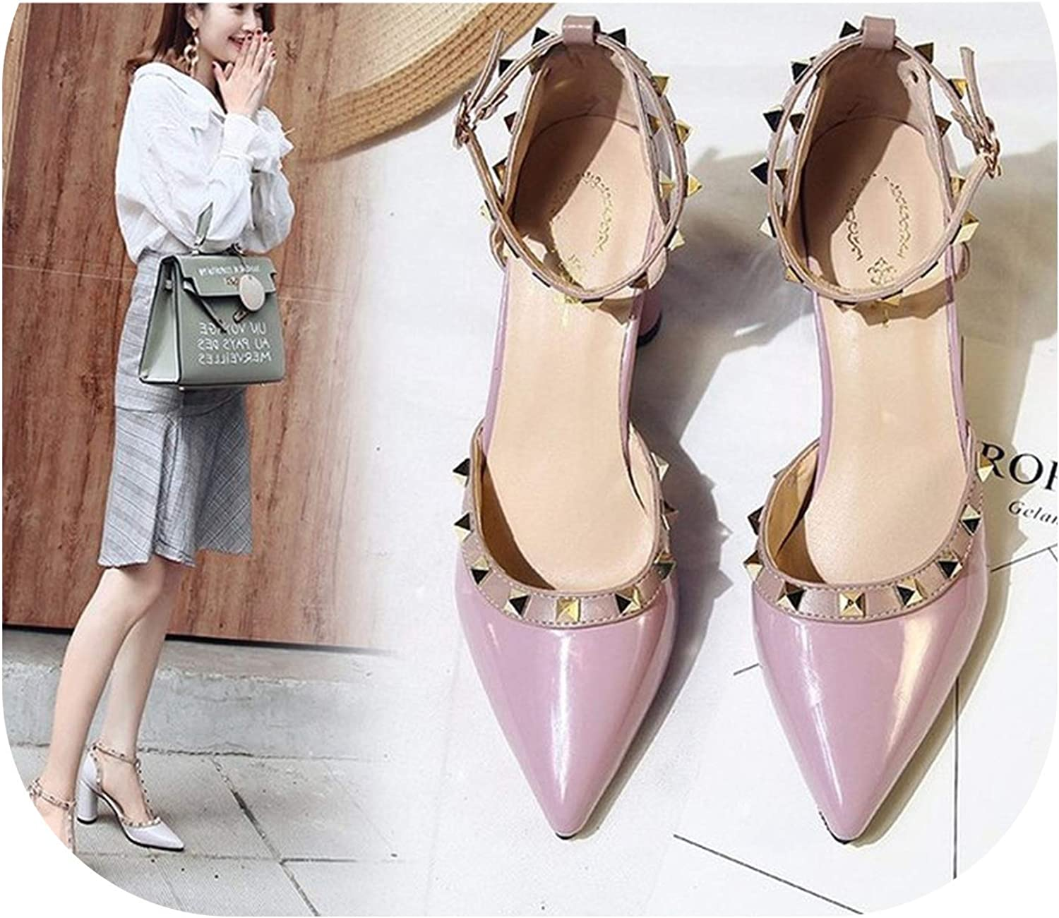 Summer Thick Heel Sandals Rivet Pointed Heel with shoes Nude Pointed Toe Women's Ankle Strap