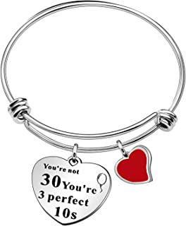 CAROMAY 30th Birthday Bangle Bracelets Charm Heart Pendant Jewerly Adjustable Friends Family Aunt Mom Gift for Women