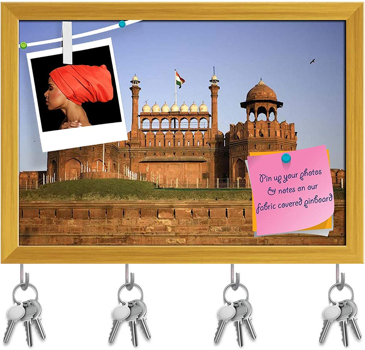 Artzfolio The Red Fort Durring Sunset in Delhi, India Key Holder Hooks   Notice Pin Board   golden Frame 16.9 X 12Inch