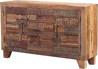 Casa Moro | Mara - Cómoda india 150 x 40 x 90 cm con frentes tallados a mano diseño de puzzle aparador estrecho de mad...