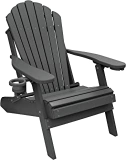 ECCB Outdoor Outer Banks Deluxe Oversized Poly Lumber Folding Adirondack Chair (Dark Gray)