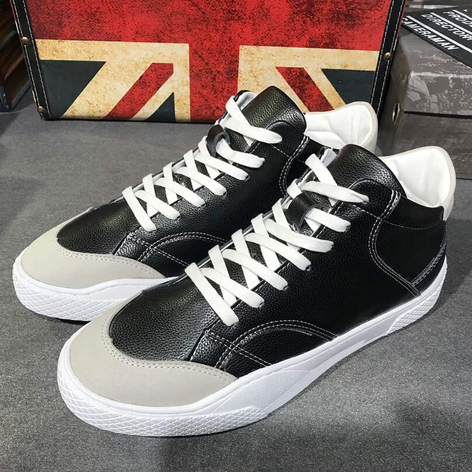 Men's Casual shoes,Spring Fall Leather shoes, High-top Sneakers, Non Slip shoes, Flat Lace-up shoes White Red  Black