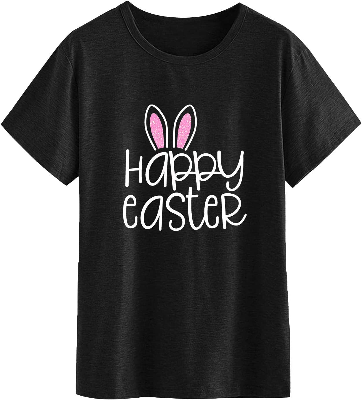 Animer and price revision Shan-S Happy Easter Letter 2021 new Print T Women's Soft Casual for Shirt