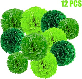 YESON Green Tissue Paper Pom Poms Decorations,Pack of 12